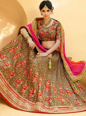 Variation Beige Art Silk Bridal Lehenga Choli