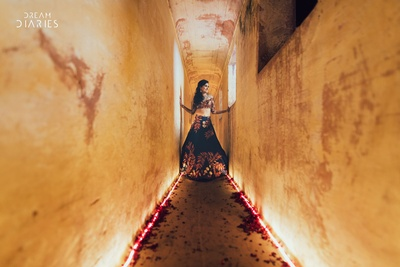 Creative shot of the bride on her Sangeet day by ace photographers Dream Diaries