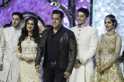 Salman Khan was seen at the wedding, posing with the couple and their family members.