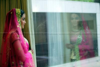 Reflective bridal photography captured by Prashant's Photography