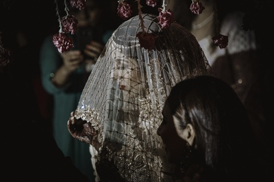 a beautiful bride shot under the veil