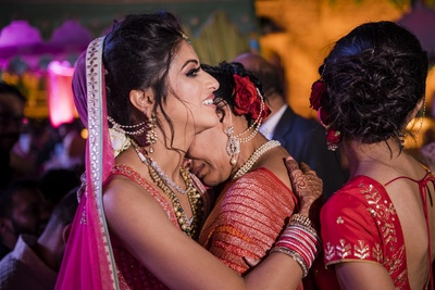 An emotional moment during the bride's vidaai.