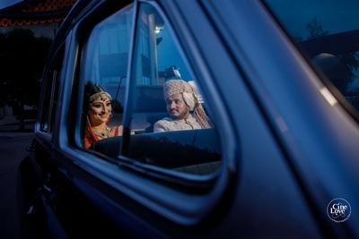 The bride leaving the wedding venue post her vidaai.