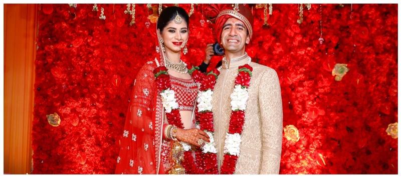 Raghav & Stuti Delhi : A Magical Delhi Wedding with a Bride in a  Pretty Red Lehenga!