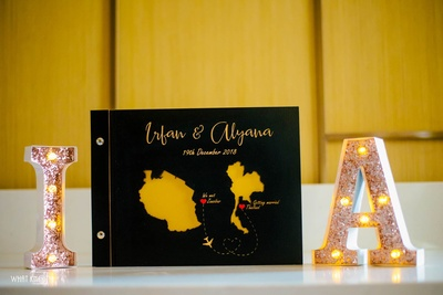 Table decor comprising of aa map symbolizing the couple's journey of love!