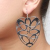 LeCalla Laser Cut Heart Rhodium Dangler Earrings image