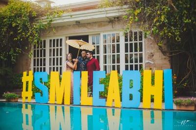 Wedding hashtag as part of decor for mehndi function