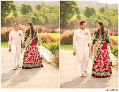 Cream coloured bandhgala sherwani with gold embroidered sleeve and a gold maple leaf styled brooch on the left pocket accentuating the groom's look
