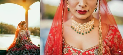 The bride in a red lehenga