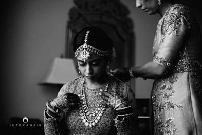 Wearing double string polki necklace and a beautiful polki mattha matti for the wedding ceremony.