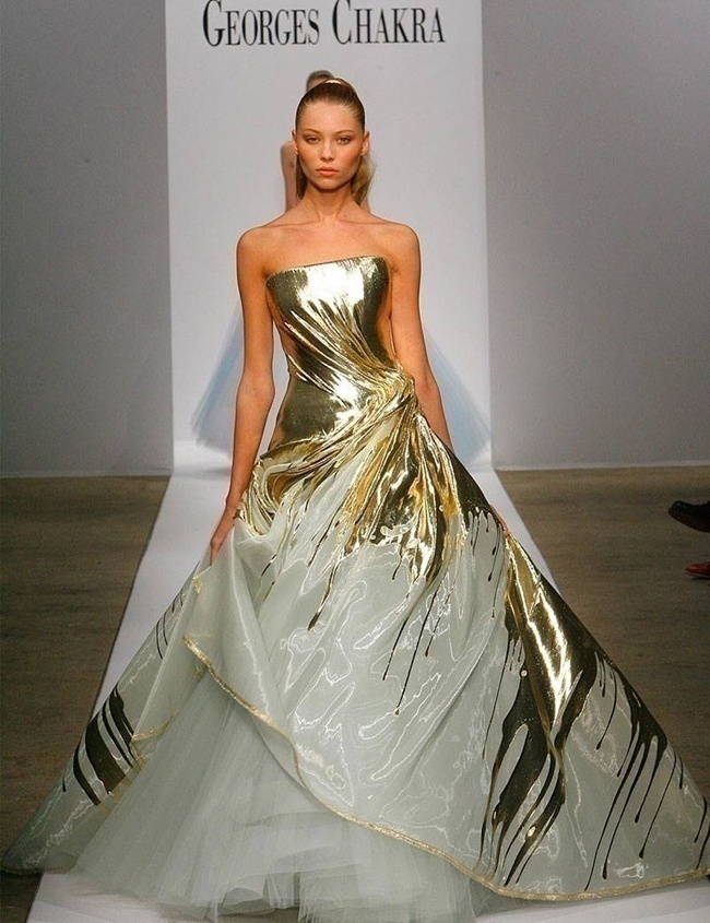 Metallic Gold and White Gown