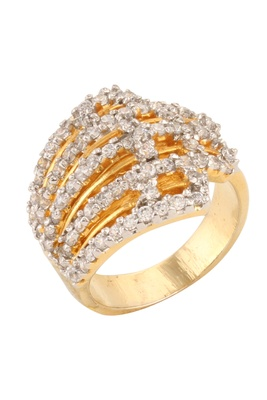 Dilan Jewels Band Style Studded Gold Plated Wedding Ring