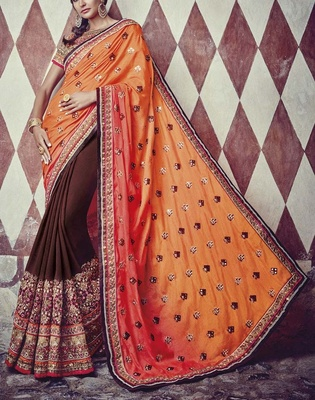 Variation Orange Georgette Bridal Saree