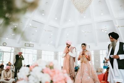 Groom and bride anand karaj ceremony
