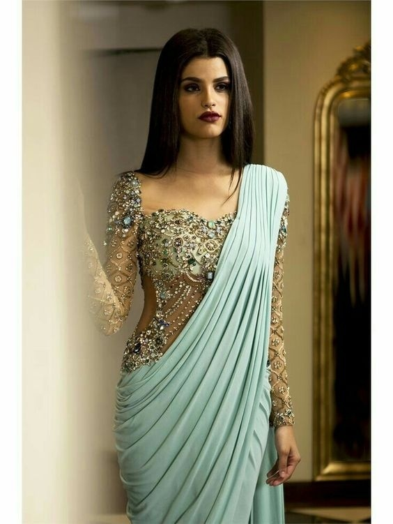 0e8e072aa7abf Look like a total diva on your big day by wearing this corset style diamond  embellished blouse with a stunning satin saree. Easily one of the best  blouse ...