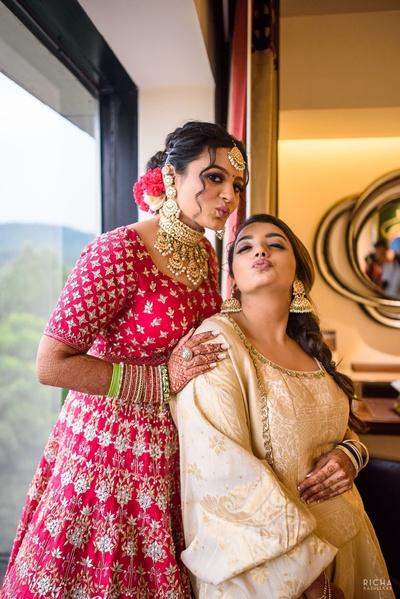 bride being playful before her wedding