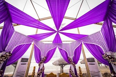 Purple mandap decor