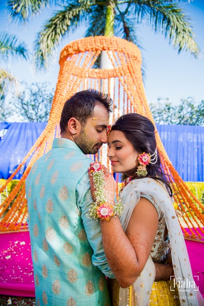 The couple looks ethereal at their haldi ceremony!