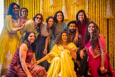 bride having a gala time with family