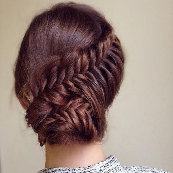 One Side Fishtail Braid Updo