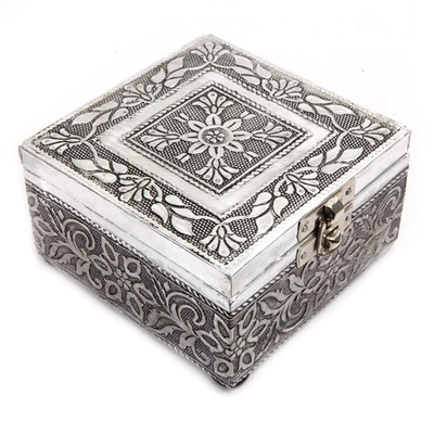 Boontoon Designer Square Box in Wood and Oxidized Metal