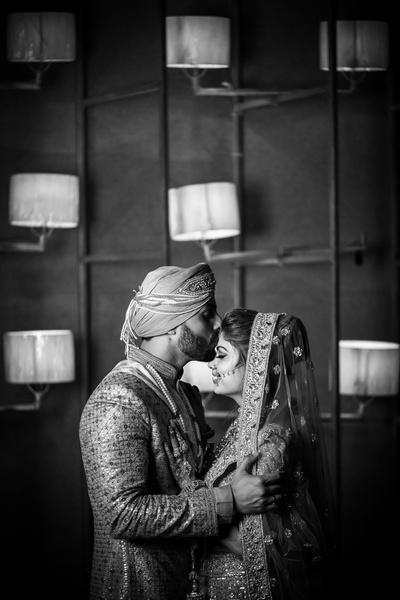 Bride and groom black n white photography by Divishth Kakkar,