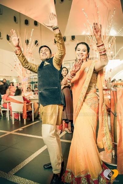 Pastel orange embellished evening wear saree