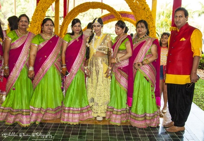 Parrot green and magenta pink sarees for Indian bridesmaid