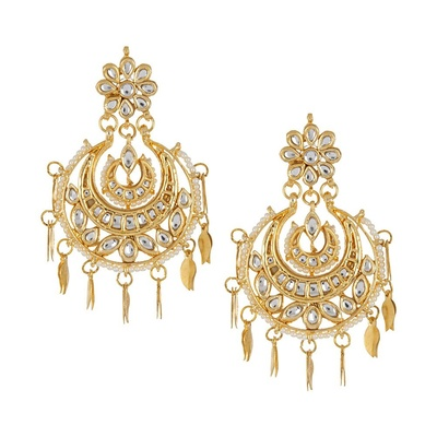 Imli Street Ivory Half-Moon Jadau Golden Earrings