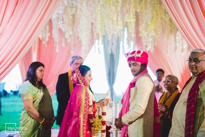 The beautiful couple during their jaimala ceremony.