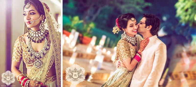 Jai & Nayana Delhi : Gorgeous Sabyasachi bride rocks her Delhi wedding at Khatri Farms in a pale blue lehenga