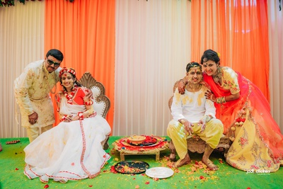 The bride and groom enjoying during their haldi ceremony!