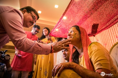 fun filled haldi ceremony for the bride to be