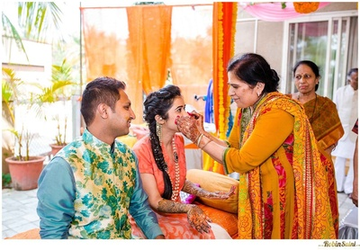 Blue kurta teamed up with a stunning floral print bandhgala nehru jacket