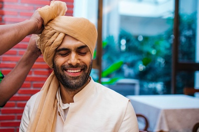 The groom while getting ready for his wedding