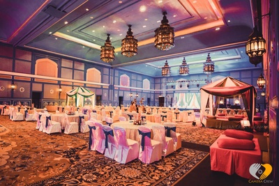 Cabanas, carpet, chair tie backs, vintage lamps, bolsters includes the grand and royal decor for the Sangeet ceremony at the Hotel Fairmont