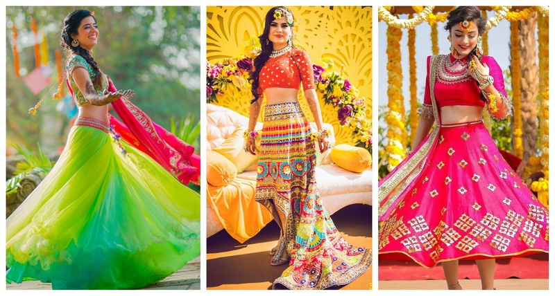 10+ Fresh & Offbeat Mehndi Outfits we spotted on Indian brides!
