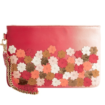 Devina Juneja Flowers In Bloom Wristlet Pink