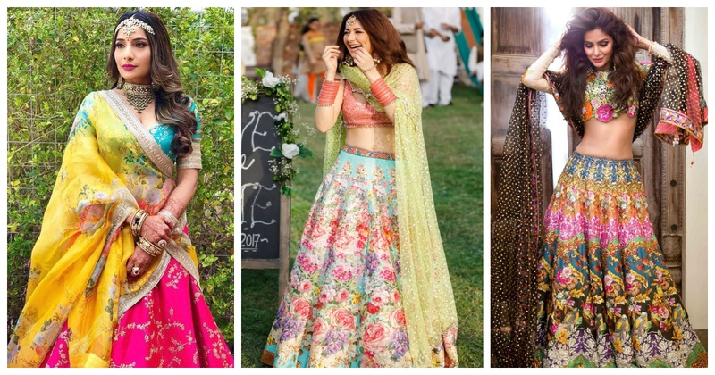 These light and breezy Floral Print lehengas are a must-have for your Mehendi or Haldi function!