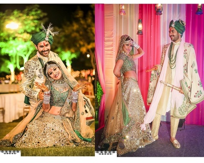 Bride and Groom are dressed in deep green colour coordinated outfits for wedding