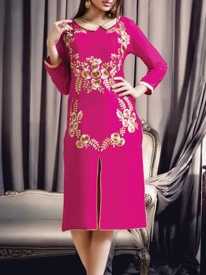 Viva N Diva pink colored viscose rayon kurti.