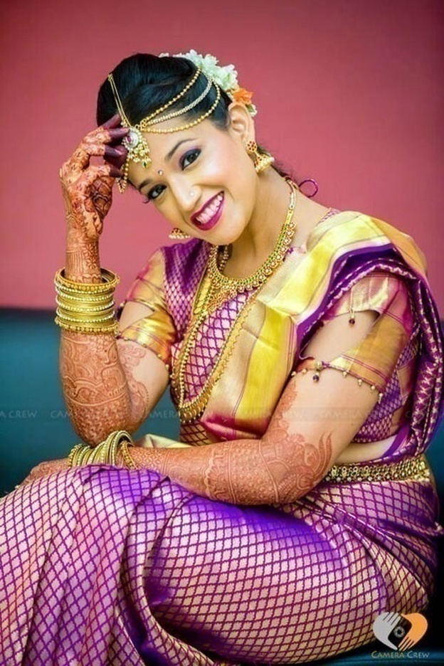 Purple and Gold Kanjivaram Silk Saree