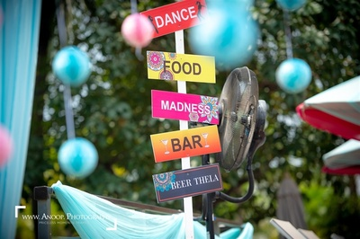 Quirky and colourful pool party decor