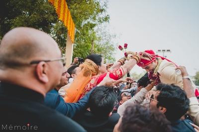 Bride and groom at jaimala ceremony