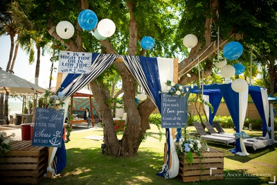 Entrance to a gorgeous nautical-themed pool party!