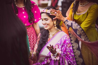 Traditional bride getting ready for her haldi function at NSCI, Mumbai