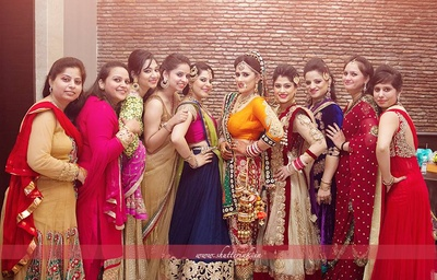 Bridesmaids not missing any opportunity to get clicked with their beautiful princess