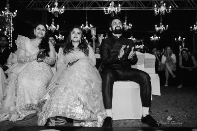 the couple enjoying at their sangeet ceremony
