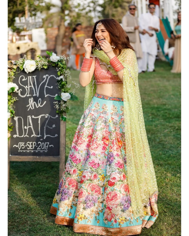 3e03b231cc These light and breezy Floral Print lehengas are a must-have for ...