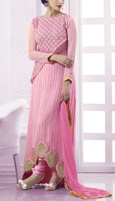 Viva N Diva pink colored faux georgette suit.